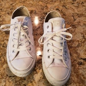 White Converse Leather Upper Sneakers